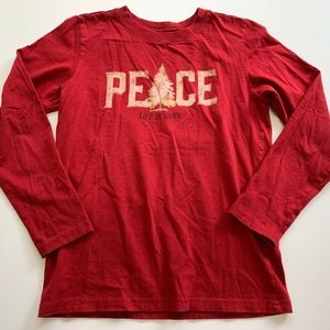 Life Is Good Size M 7-8 Red Peace Holiday Shirt